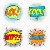 Шуточные пузыри речи с эмоциями - LOL холодно WTF И АВАРИЯ Эскиз шаржа влияний диалога в стиле искусства шипучки на полутоновом и иллюстрация штока