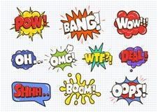 Шуточные ядровые пузыри влияния речи установили изолированный на белой предпосылке Стоковая Фотография