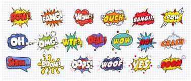 Шуточные ядровые пузыри влияния речи установили на белую иллюстрацию предпосылки Вау, плен, челка, ouch, авария, woof, нет стоковая фотография
