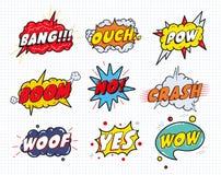 Шуточные ядровые пузыри влияния речи установили на белую предпосылку Стоковая Фотография