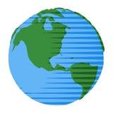 Шуточный глобус стиля с США и Канада в шуточном глобусе стиля иллюстрация штока