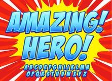Шуточный голубой комплект алфавита Письма, номера и диаграммы для kids& x27; иллюстрации, вебсайты, комиксы, знамена иллюстрация вектора