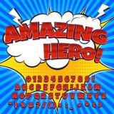Шуточный комплект алфавита Письма, номера и диаграммы для kids& x27; иллюстрации, вебсайты, комиксы, знамена иллюстрация штока