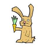 шуточный кролик шаржа с морковью Стоковые Изображения