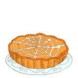 Шуточный стиль, горячий, свеже испеченная тыква, пирог плодоовощ, полива иллюстрация штока