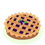 Шуточный стиль горячий, свеже испеченная голубика, пирог плодоовощ, vec шаржа иллюстрация вектора