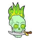 шуточный череп пирата шаржа с ножом в зубах Стоковое Фото