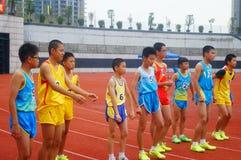 Шэньчжэнь, Китай: выбор спортсменов легкой атлетики элиты в основном и средних школах Стоковое Изображение