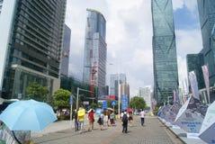 Шэньчжэнь, Китай: конвенция Шэньчжэня и ландшафт квадрата выставочного центра Стоковые Фото