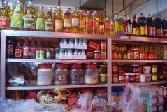 Шэньчжэнь, Китай: продовольственный магазин зерна и масла Стоковые Фотографии RF