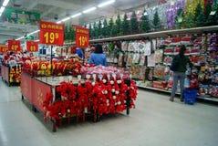 Шэньчжэнь, фарфор: продажи товара рождества Стоковое фото RF