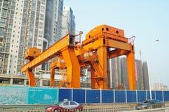 Шэньчжэнь, фарфор: строительная площадка метро Стоковые Изображения RF