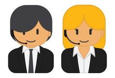 Шлемофоны человека и женщины нося иллюстрация вектора