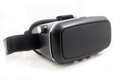 Шлемофон будущего VR чернит вид спереди преобразованное виртуальной реальностью половинное изолированный на белой предпосылке VR  Стоковые Изображения