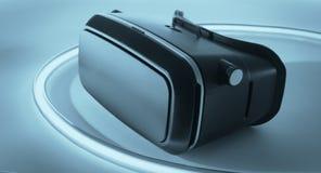Шлемофон изумлённых взглядов виртуальной реальности VR Стоковое фото RF