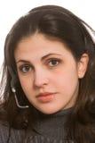 Женщина с шлемофоном Стоковые Фотографии RF