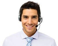 Шлемофон обслуживания клиента репрезентивный нося стоковое фото