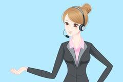 Шлемофон телефона носки бизнес-леди Стоковое Изображение