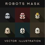 Шлемы робота маск абстрактные vector дизайн иллюстрации плоский Стоковое Изображение