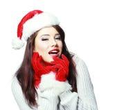 шлем азиатского крупного плана рождества предпосылки кавказского милый изолировал шарфа santa портрета фото детенышей белой женщи Стоковая Фотография