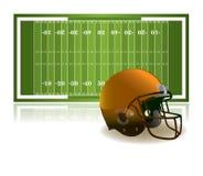 Шлем американского футбола и иллюстрация поля Стоковые Изображения RF