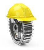 Шлем безопасности и gearwheel Стоковая Фотография RF
