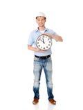 Шлем бизнесмена нося с часами Стоковые Изображения