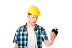 Шлем бизнесмена нося с часами Стоковое Изображение RF