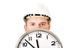 Шлем бизнесмена нося с часами Стоковая Фотография
