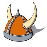 Шлем Викинга шаржа с рожками. Вектор Стоковое Изображение