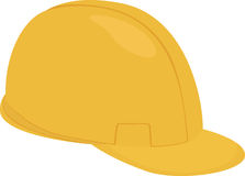 Шлем желтого цвета шаржа построителя изолированный на белизне Иллюстрация вектора