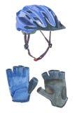 Шлем и перчатки велосипеда акварели Стоковые Изображения