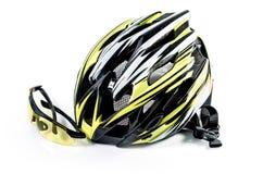 Шлем и стекла велосипеда на белой предпосылке: Включенный путь клиппирования: не включает тень вниз Стоковое Изображение RF