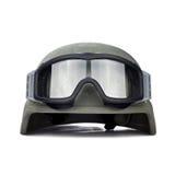 Шлем и тактические изумлённые взгляды изолированные на белой предпосылке Стоковые Фото