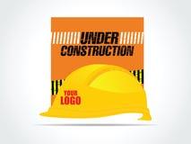 Шлем конструкции желтый для работника - иллюстрации вектора Стоковое Фото