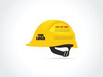 Шлем конструкции желтый для работника - иллюстрации вектора Стоковые Изображения