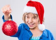 шлем маленький santa девушки Стоковая Фотография RF