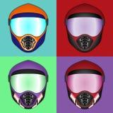 Шлем мотоцикла, защитный шлем для различных весьма спорт Стоковые Фото