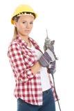 Шлем молодой вскользь безопасности сверла и носить удерживания женщины. Стоковая Фотография RF