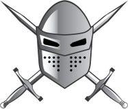 Шлем рыцаря и пересеченный вектор шпаг Стоковое Фото
