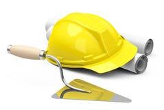 Шлем, чертежи и лопатка кирпича Стоковые Изображения RF