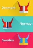 Шлем Швеция, Норвегия, значок danmark плоский Стоковая Фотография RF