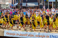 Шлюпка банка ING на параде 2014 канала Амстердама Стоковые Фото