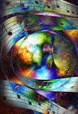 Шлюпка Викинга в космосе и звездах и примечании музыки, коллаже компьютера, космосе с светлой вспышкой Шлюпка с деревянным дракон Стоковые Изображения