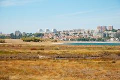 Шлюпка в болотах реки Дуэро, Португалии Стоковые Фотографии RF
