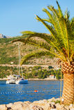 Шлюпка в море около скалистого берега Хорватия dubrovnik Стоковые Фотографии RF