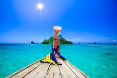 Шлюпка в море andaman в летних каникулах Стоковое фото RF