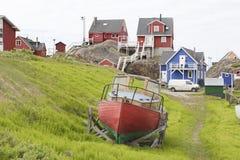Шлюпка Гренландия рыболова стоковые изображения rf