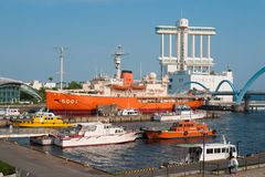 Шлюпка ледокола Фудзи на порте Нагои, Нагое, Японии Стоковое фото RF