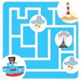Шлюпка и маяк игры лабиринта Стоковые Изображения